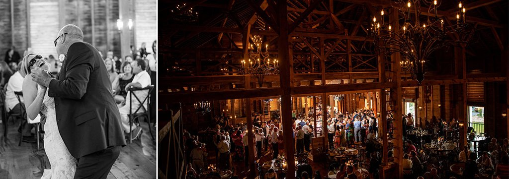 A packed dance floor and a bride dancing with her dad at the wedding reception. When you think of questions to ask a wedding DJ, you will want to find out how they will make these things happen at your wedding reception.