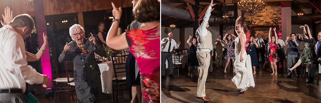 A cool grandma dancing on the dance floor at a wedding reception.