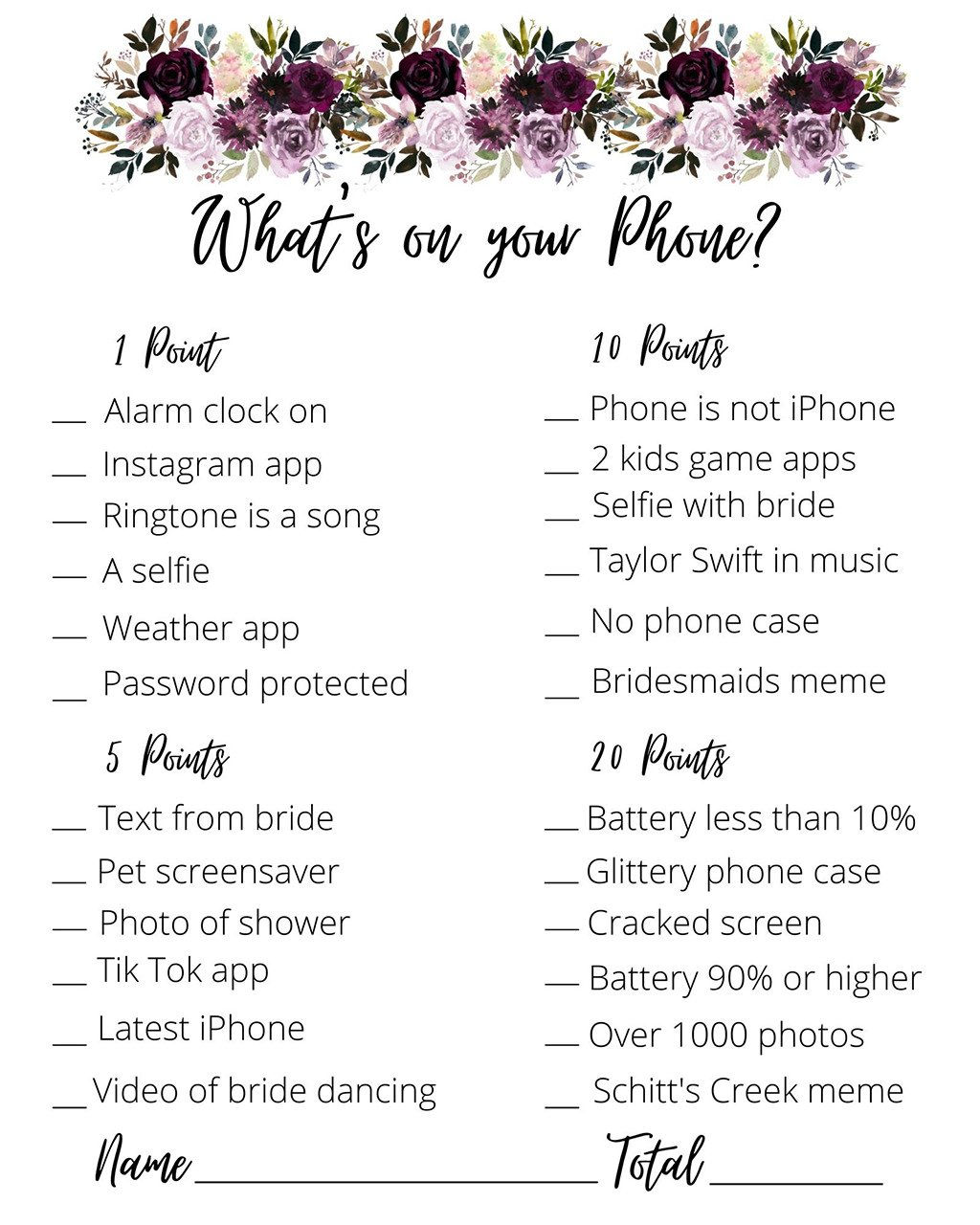 A printable from the bridal shower game what's on your phone