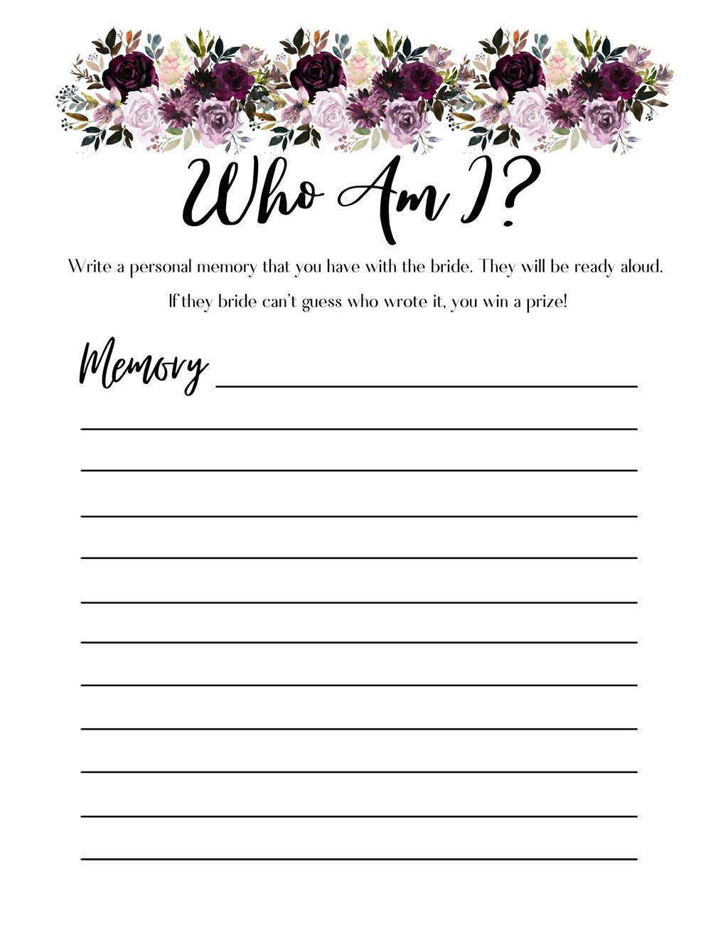 A printable for the game Who Am I, which is a game that you play at a bridal shower