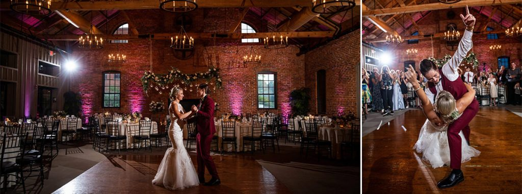 two brides sharing a first dance at their wedding reception. They are dancing to Michael Buble.