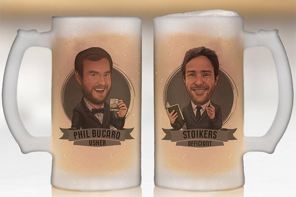 2 frosted mugs with cartoon drawings of the groomsmen on the front