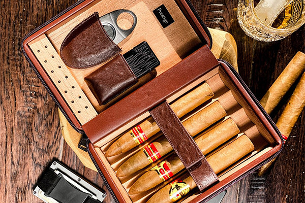 a box of cigars that are meant as a gift from the groom to his groomsmen.