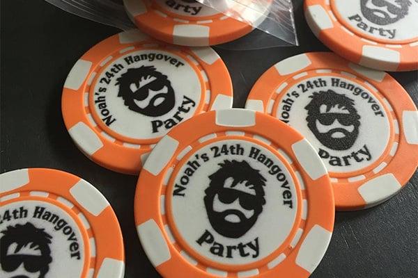 orange poker chips