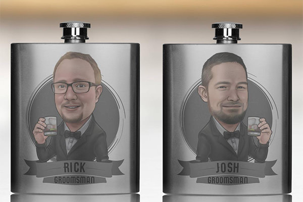 a flask with a caricature on the front