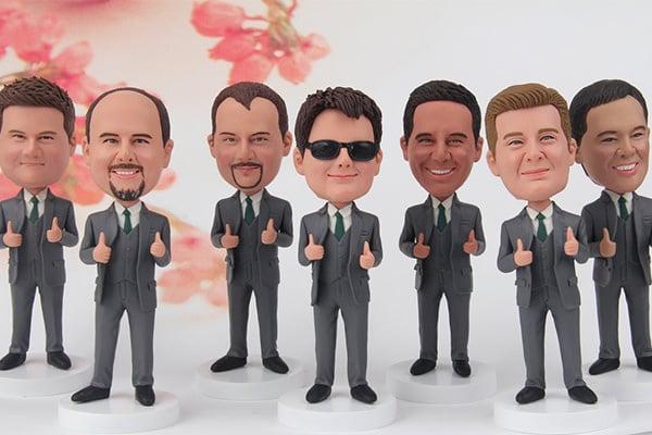 A group of groomsmen bobbleheads