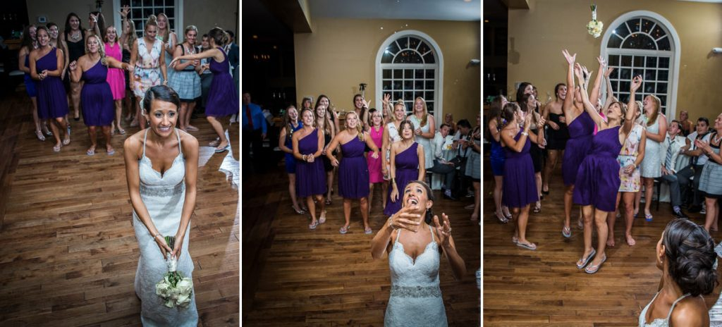 A bride tossing the bouquet to a group of girls. The DJ was playing a funny song as the bride tossed the flowers.