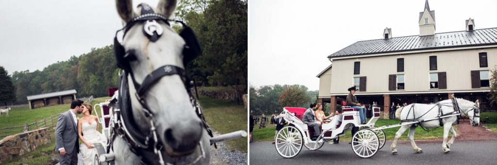 A bride and groom leaving their wedding ceremony by horse and carriage