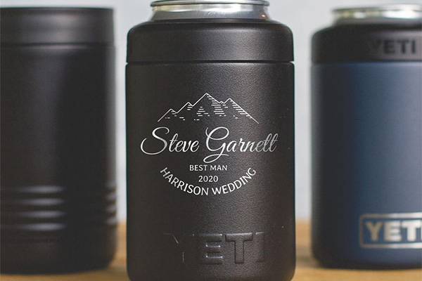 A yeti colster can cooler with personalization