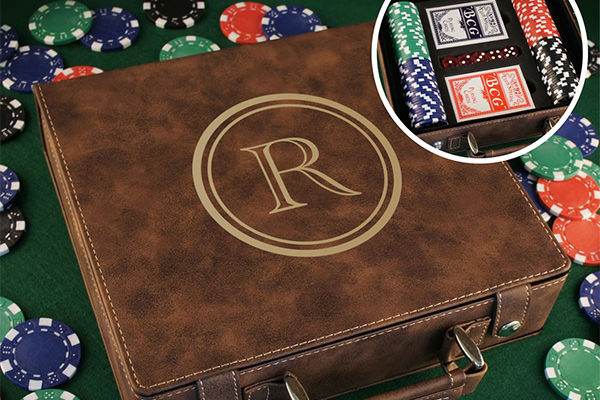 a poker set with case, cards, chips, and dice.