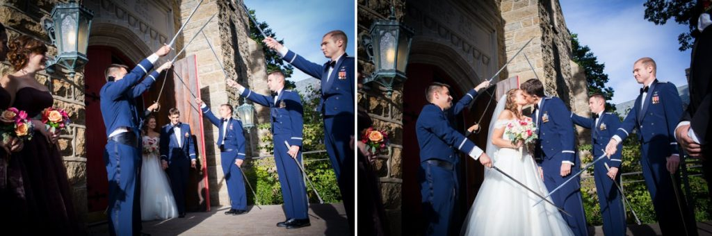 A bride and groom exiting the wedding ceremony under a saber arch (swords)