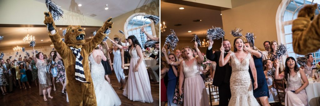 The Penn state Nittany Lion at a wedding using school cheer poms on the reception dance floor