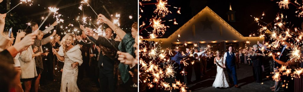 sparkler exit send off ideas for a wedding reception. Both of these photos show a couple walking down the aisle after their wedding through a tunnel of sparklers being held by the guests.