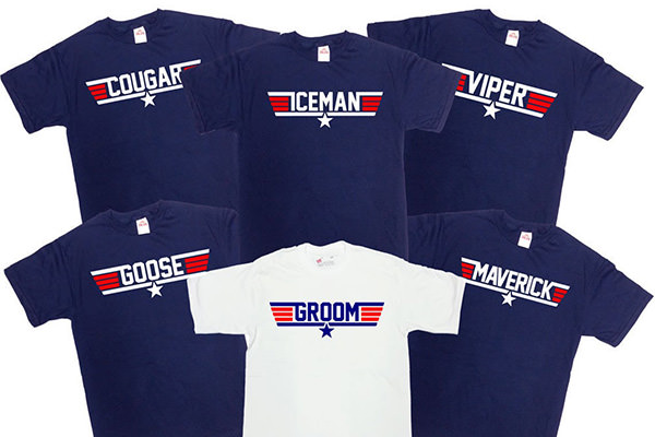 6 shirts with nicknames on them for the groom and groomsmen