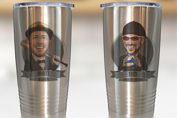 2 travel mugs with groomsmen cartoon drawings on the front. These are a gift from the groom.