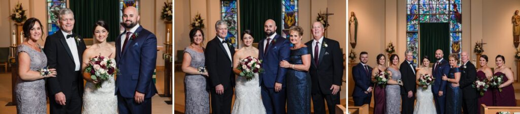 wedding family photos being taken at a church