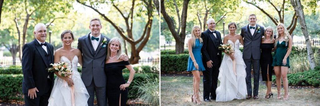 Family photos being taken at an outdoor wedding