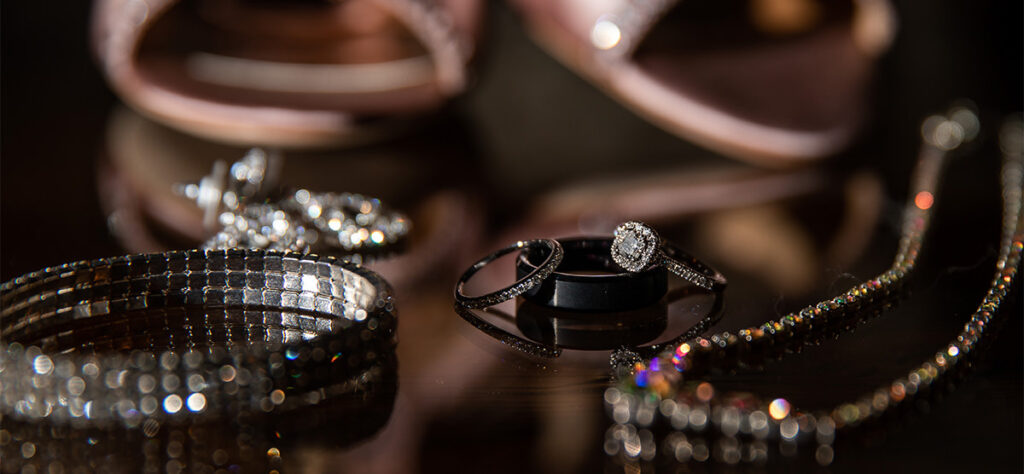 The bridal details including wedding rings and bracelet