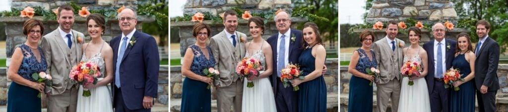 wedding family photos at an outdoor wedding venue