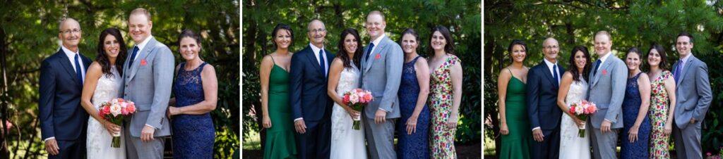 A series of wedding family photos