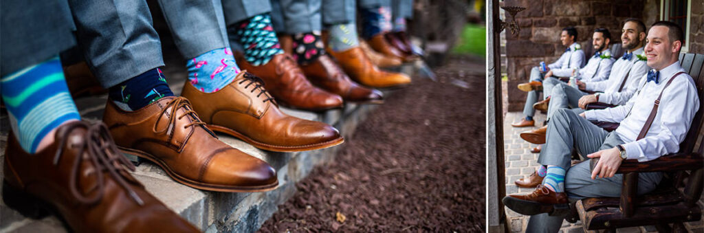 Socks on the groom and groomsmen at a wedding