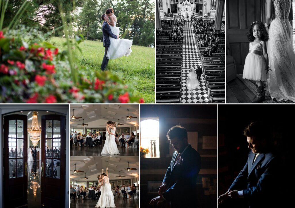 A photo collage from MG Photography containing multiple wedding photos.