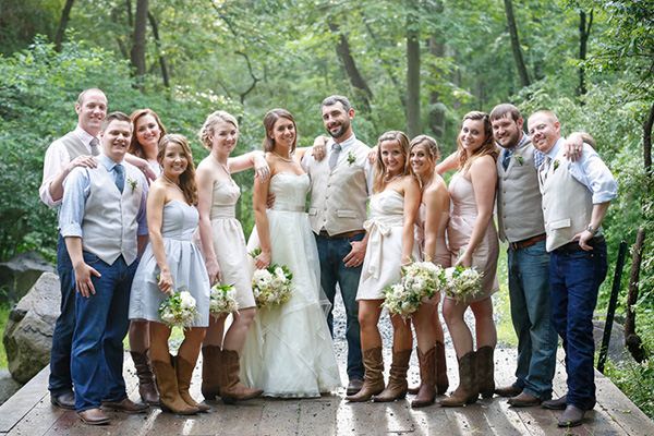 A wedding party posing for photos in Harrisburg, PA