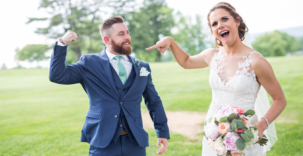 A funny bride and groom