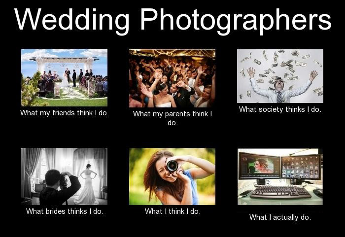 A funny wedding meme talking about photo editing. This is for the article how long does it take to get wedding photos back