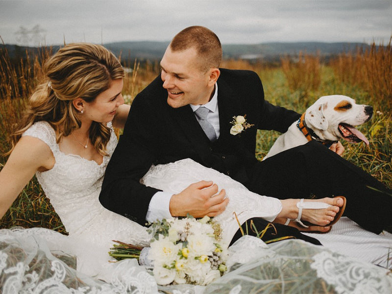 A bride and groom posing with a dog. This is for the artle called best wedding photographers in reading pa