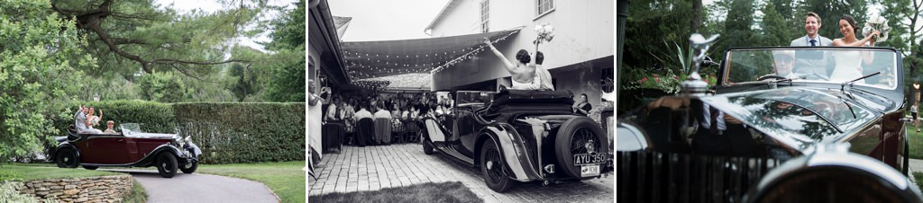 A bride and groom entering their reception in an old antique car.