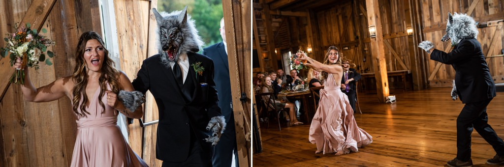 A guy dressed like a wolf walking into a wedding reception with a bridesmaid.