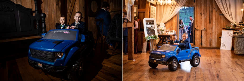 ring bearer entering the reception on a ride on vehicle. Such a fun idea for the bridal party entrance.