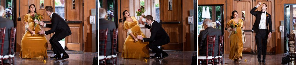 A bridesmaid pretending to give birth to a beer bottle during the reception entrance.