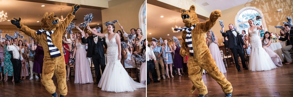 The Nittany Lion making an appearance at this Penn State themed wedding reception.
