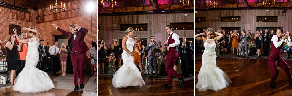 two brides entering the reception while having a dance contest
