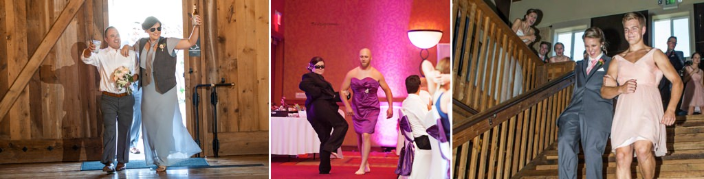 bridesmaids and groomsmen switching outfits for the grand entrance.