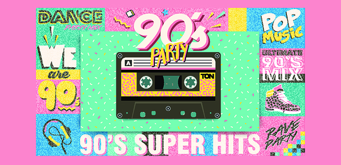 A mix tape with the text 90s party. This is the cover image for the article best 90s dance songs