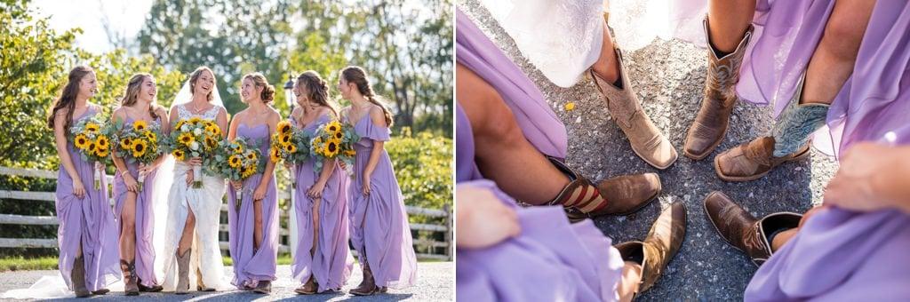 A bride and bridesmaids wearing cowboy boots
