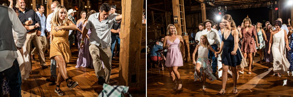 Wedding guests dancing to footloose at a wedding reception.