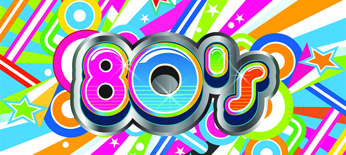 a bright colored 80s graphic. This is the cover photo for the best 80s wedding dance songs article.