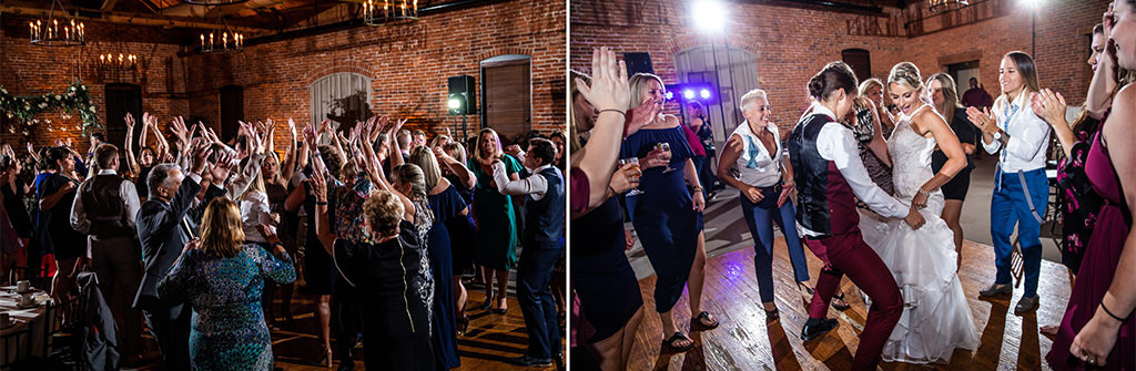 Two brides dancing to the best 70s songs at their wedding reception