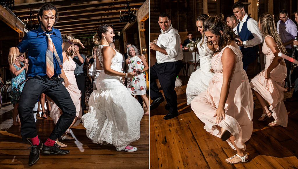A bride and bridesmaid dancing to cotton eyed joe at a wedding reception. that is one of the best country songs to use for a wedding reception.
