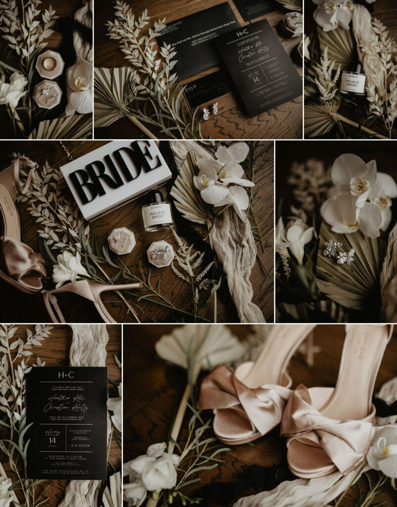a collage of detail photos for the bride