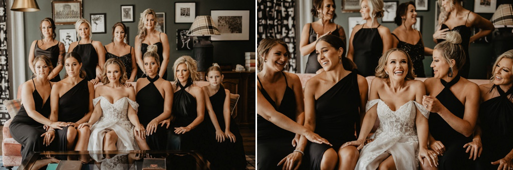 A bride and bridesmaids posing on a couch