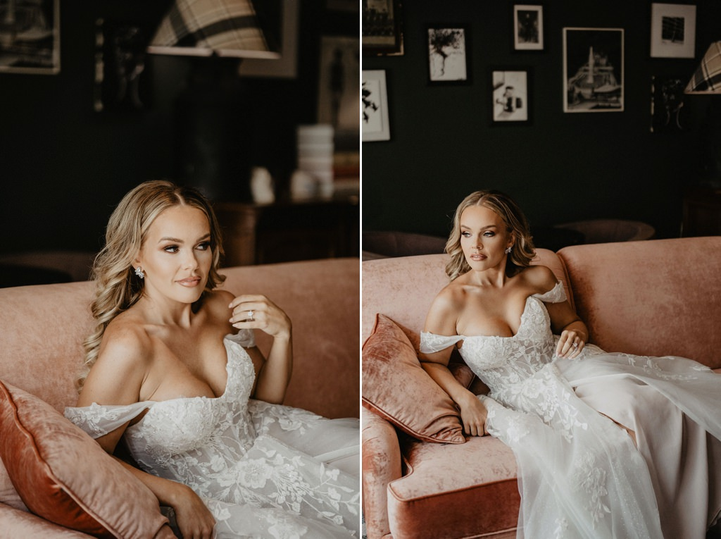 A bride posing on a couch