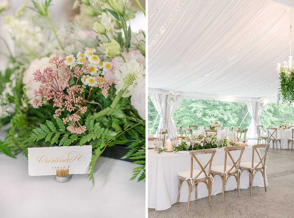Wedding reception detail photo. Green and pink flowers with gold chairs