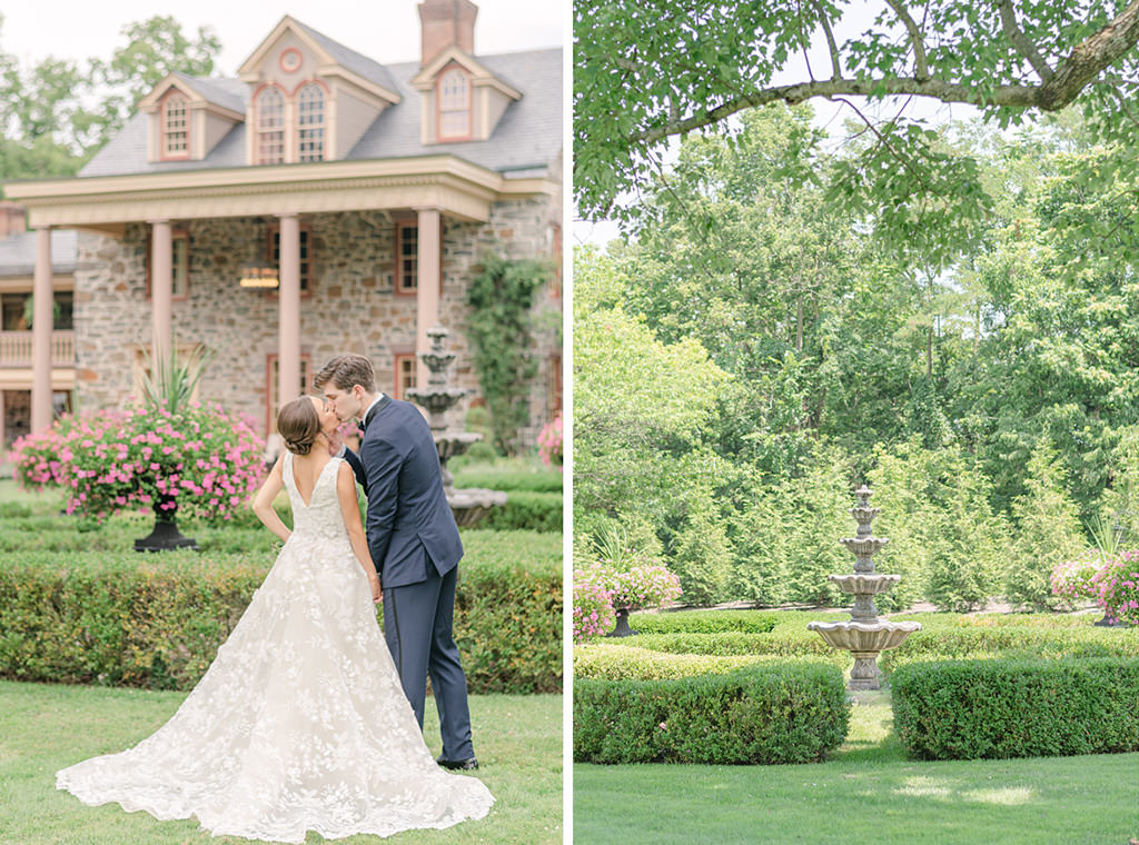 A bride and groom kissing in front of Moonstone Manor