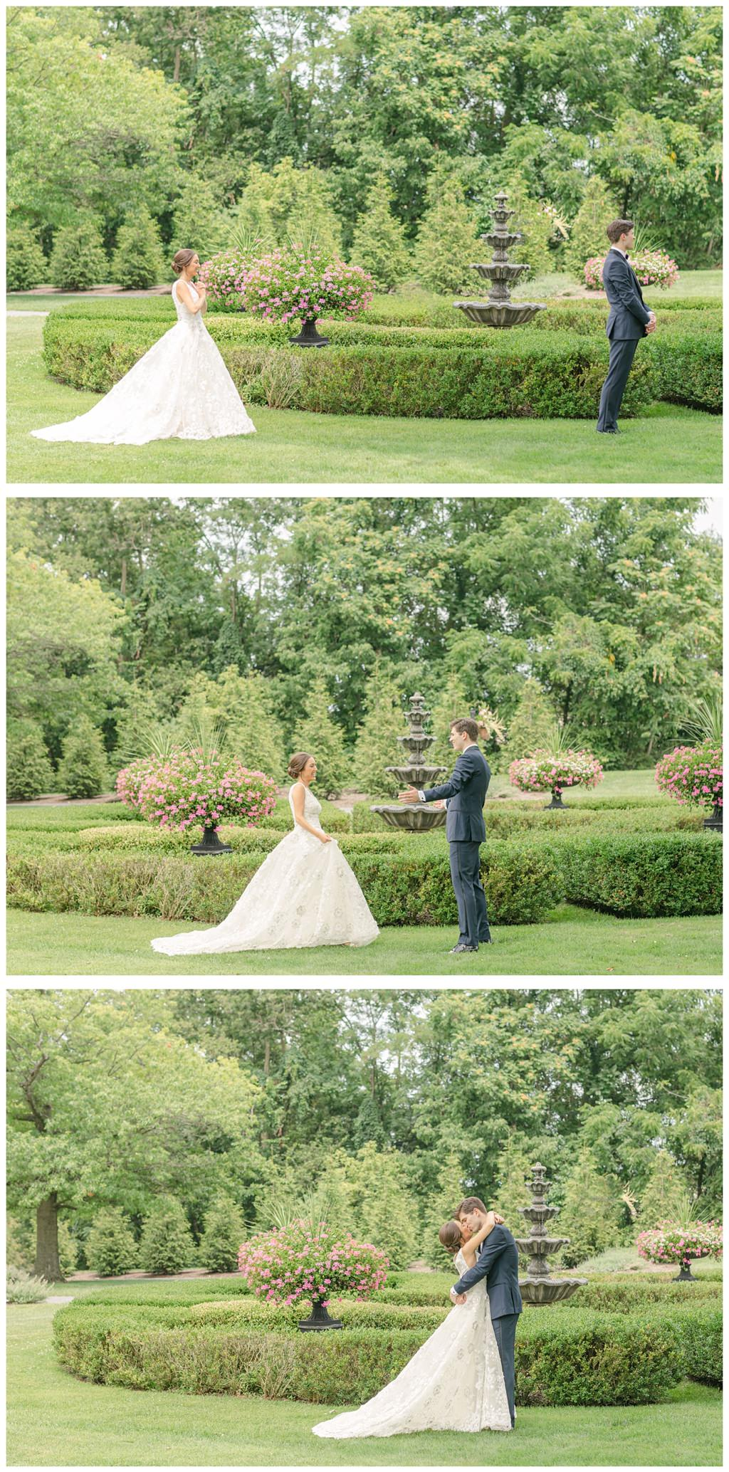 A bride and groom doing a first look befroe their wedding at Moonstone Manor