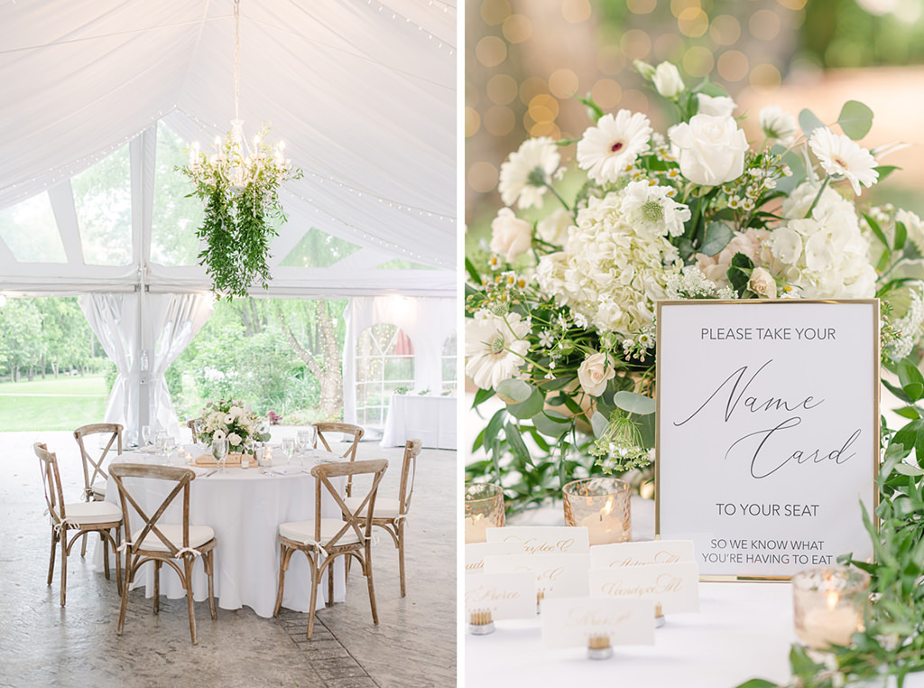 Wedding reception decorations. Flowers and table signs